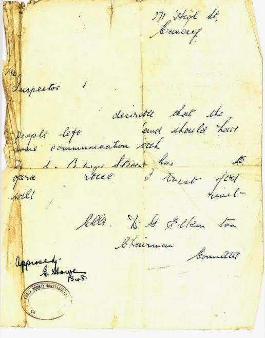 Remnants of a pass/letter of authorisation issued to my Dad, Aubrey Stevens by Councillor Elkington so he could have access to the Island in the 1st week of the Flood. | T.Stevens
