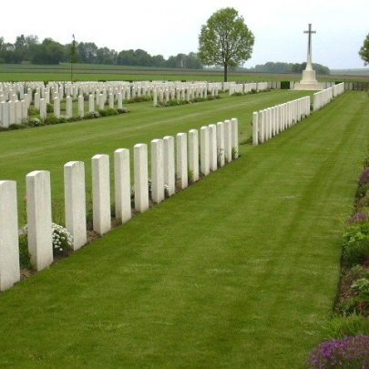 at Fins New British Cemetery, Sorel-Le-Grand at The Somme, France. | Robert's Grave is to the left of the cross and the second group coming this way