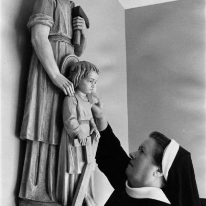 Sister Theresa with an Italian sculpture of St Joseph and the young Christ. | Echo newspaper group and the Rayleigh Town Museum