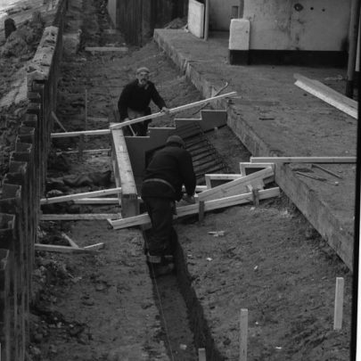 Shuttering for steps outside the Labworth. Picture taken 9 January 1981