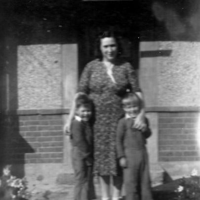 This picture was taken on the 16 September 1951 at the door of 'Francesca'. George is with his mother Frances and brother Eddie. | G Smith