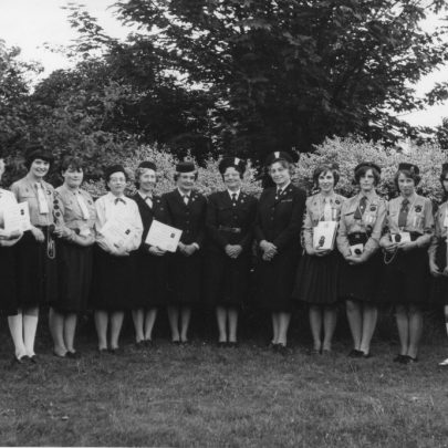 Presentation of 1st Queens Guide Badge to Angela Shelton and 8 Long Service Awards. Taken at St Joseph's 1966 | Phyllis Owens