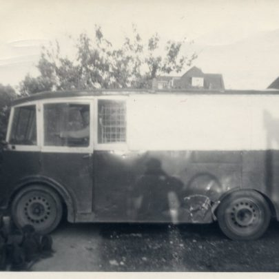 The 'Lee Car' van. This picture shows the top of Jellicoe and Wainwrights house visible behind | G Stevens
