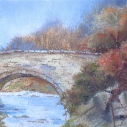 'The Stone Bridge in Autumn' pastels and watercolour | Dudley George