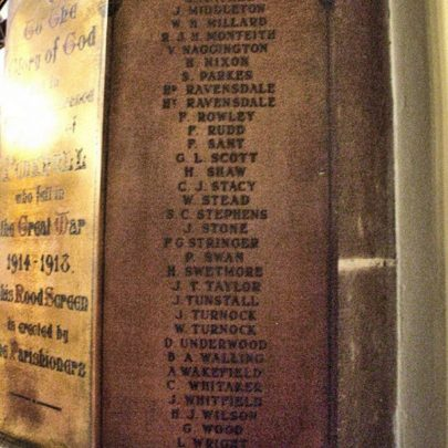 Penkhull War Memorial in Stock on Trent | Robert's name is toward the top