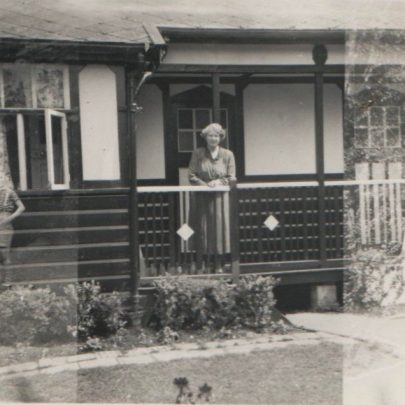 George's mother in front of the later bungalow | George Milford