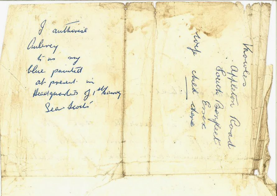 Permission to use a boat(if it was still there). Could have been from Madge Moore? Also his place of abode at the time. | T.Stevens