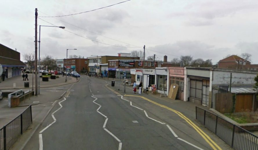 Similar veiw today. The five shops on the right are the same ones in the picture above | google street view