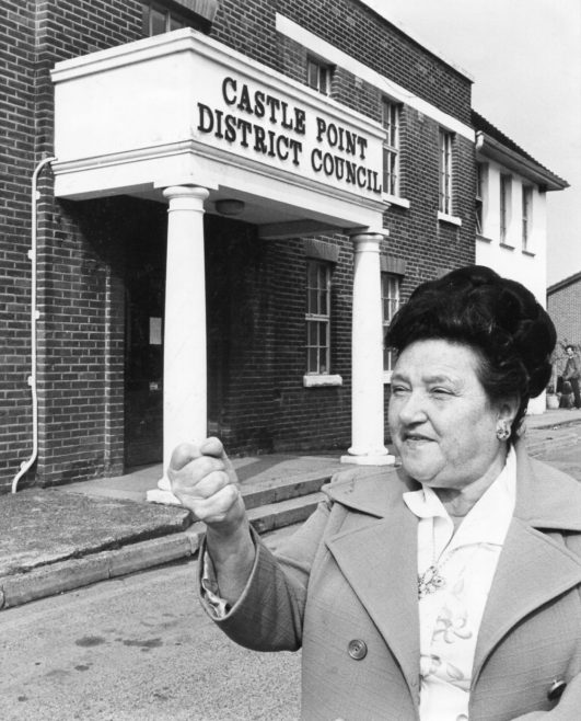 Dot Shaw outside Canvey's Council Offices | Echo Newspaper Archive