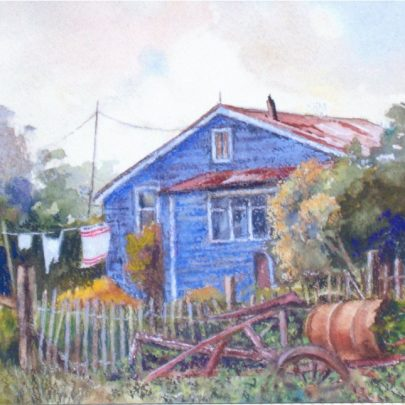 A painting in mixed media (Watercolour and pastel) | Dudley George
