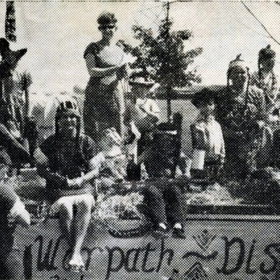 Canvey Distaff Club on the warpath, chairman Pauline Hook (left seated) being suitably attired as Big Chief. The float came third in the best district float competition.