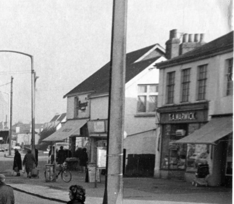 Close-up shows shops that were demolished to make way for the Knightswick Centre