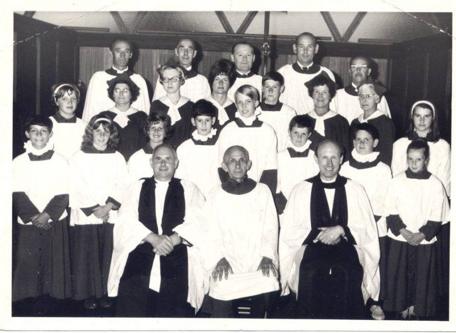 Spearman choirmaster in middle at front, organist at St Katherines, back row Mr Lee at left, Peter Hawkins with the cross, Ernie Bonsor back right, Mrs Lee second row 3rd from right, Tall man next to Ernie B think is Laurie Dingley, Vicar Mr Fleetwood front left | K Bonsor