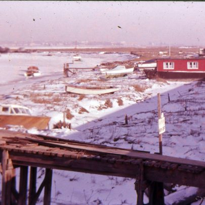 c1955: A frozen Smallgains Creek with houseboats | Ian Hawks
