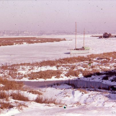 c1955: Looking east along Smallgains Creek in the snow | Ian Hawks