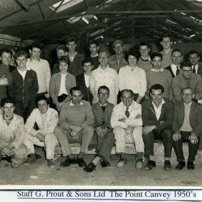 Staff G.Prout & Sons Ltd at the Point - 1950's: Front Row ... Peter Nolson, Bob Taplin, Trevor Bloxham, Stan Turner, Wally Faber, Vin Tynan. Second row standing ... Dave Bowen, Dave Abbott, ?, David Poole, Christine Smith, ?, Pamala Turner, ?, Frank Coleman. Back row ... ?, ?, Peter Hamblin, Jock Black, David Powell, ?, Ian Hawks, Gerry Gold, Fred Miles {? = unknown} | Thanks to Ian Hawks