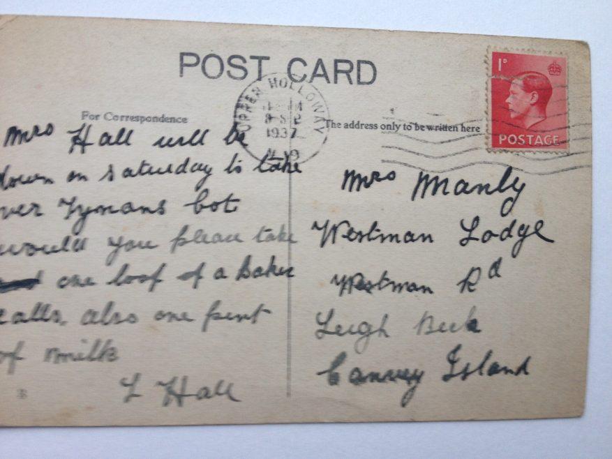Familiar postcard  1937 message