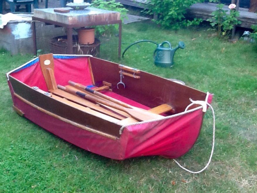 Red folding dinghy