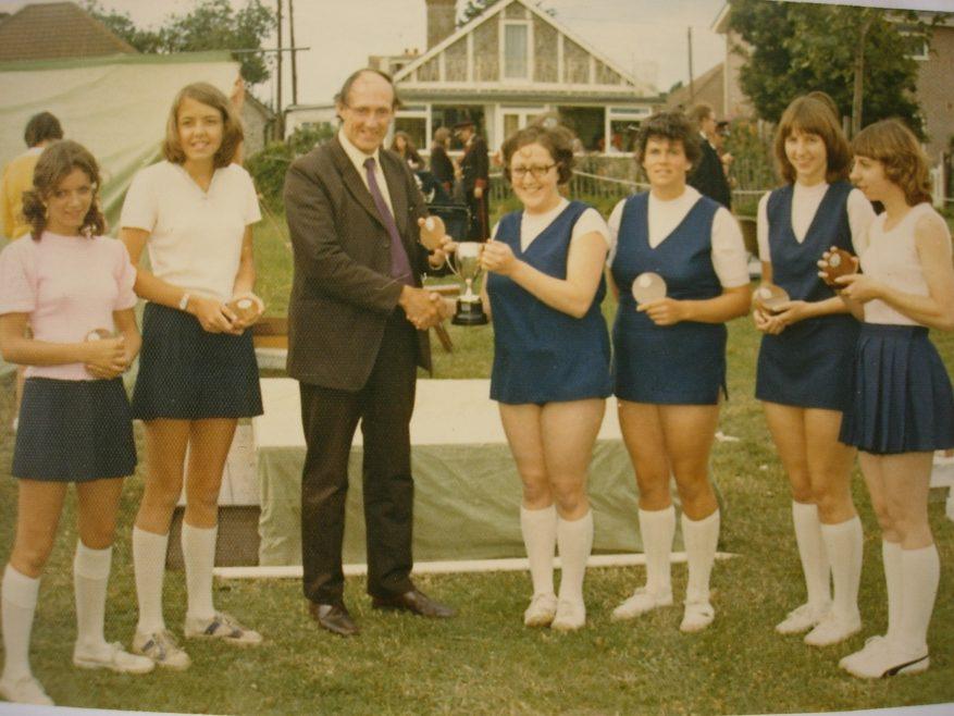 Canvey Netball Team 1973: L to R, Annette Hudson, Karen Hadrys, Barbara Westrop, Margaret Maclean, Linda Carless and Sylvia Badcock.