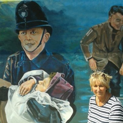 Judy Taggart, the little girl in the picture being taken to safety by PC Bill Pilgrim. On the right Judy as she is today.