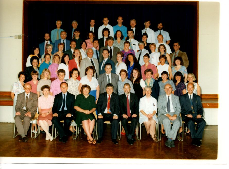 Staff photo in the Main Hall of Furtherwick Park School in the 1990s | J. Walden