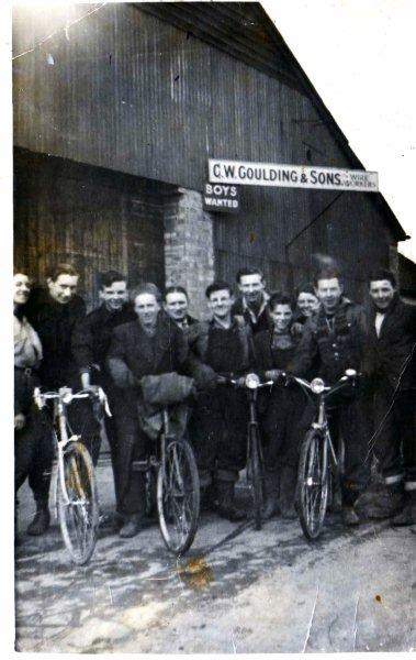 This is taken outside Gouldings Wire Works in about 1950 I think. My uncle, Derek Sickelmore, is 4th from left and I think that's my dad, Gerald Hudson 4th from the right.