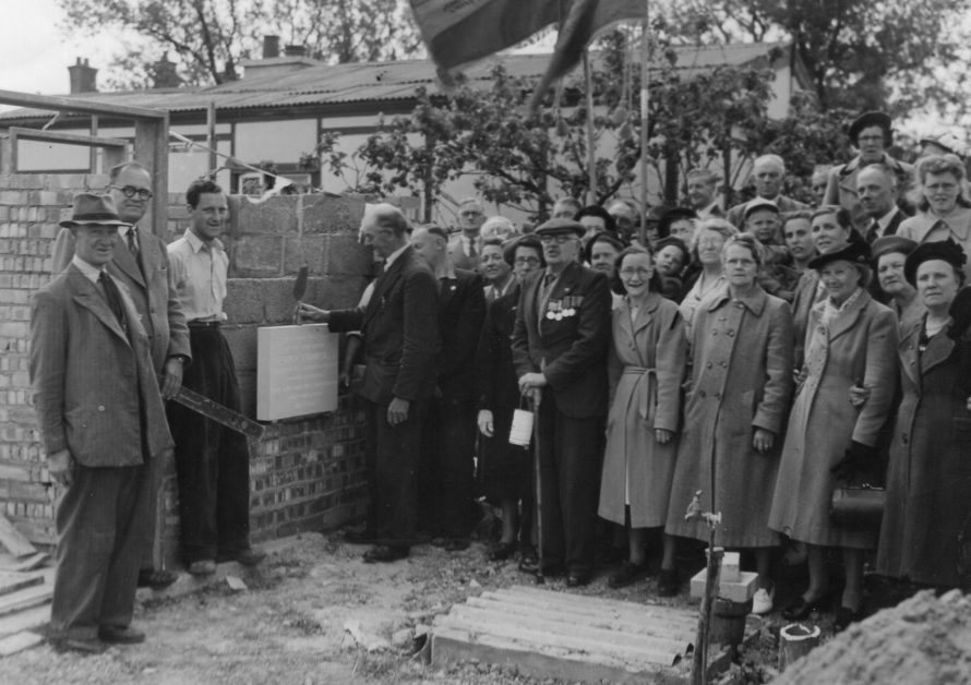 A photo of  laying the foundation stone for RBL hall. | Val Court