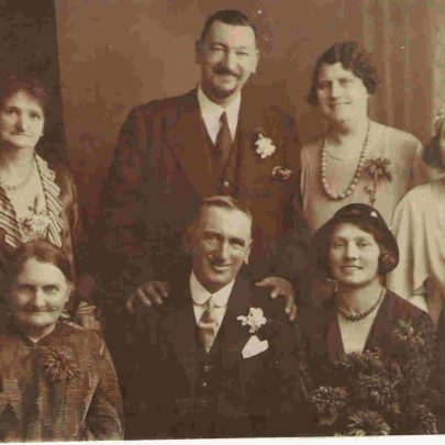 The marriage of John Luck's eldest son Jack to Ada. John Luck and his wife Alice Luck are seated either side of the bride and groom in the front row. My grandfather Charles Luck is behind on the right with his wife Alice. I don't know the exact date of the wedding but I guess it is in the 1920s. | Sharon Sciachettano