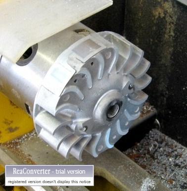 Fins machined from flywheel