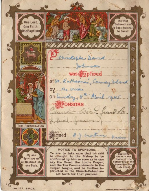 Baptism Certificate 1945 | Courtesy of Margaret May
