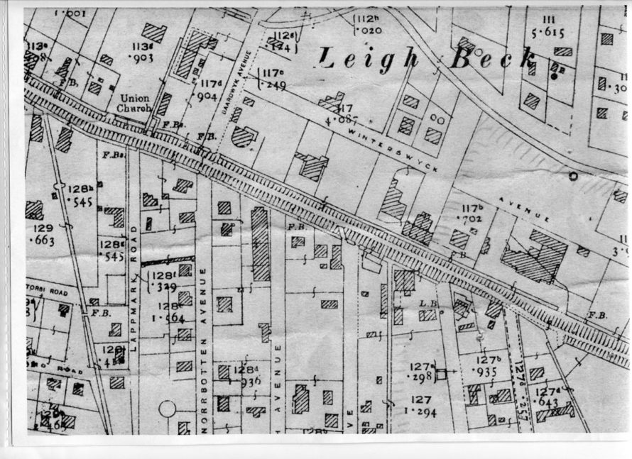 Map c1930's Cotswold Gardens can be seen on the left with the number 129 next to it. St Annes Church is just off the map at the bottom of Norbotten Avenue (now St Anne's Road)