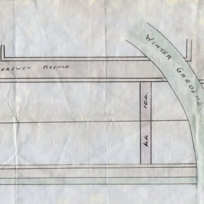Copy of original Hester estate plan attached to documents from 1920. The projected or actual Mono-rail is marked Winter Gardens. | Aubrey Stevens