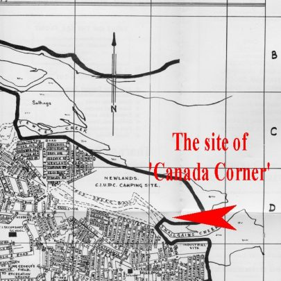 Map showing the location of Canada Corner