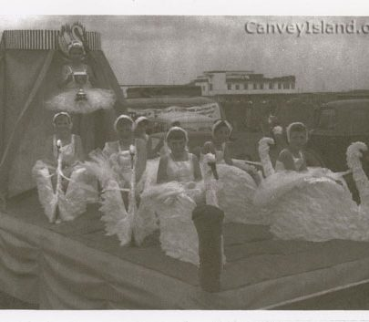 1961/62 - Canvey Carnival. This float 'Swan Lake' won many first prizes. The Monico can be seen in the background.