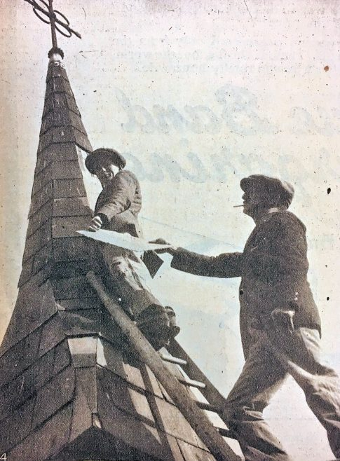 From the cutting - Mr T W Hoather (churchwarden) and Mr F Lazell (choirman) repairing the steeple of Canvey Parish Church, through which the recent rains poured into the church. | Echo Newspaper Archive