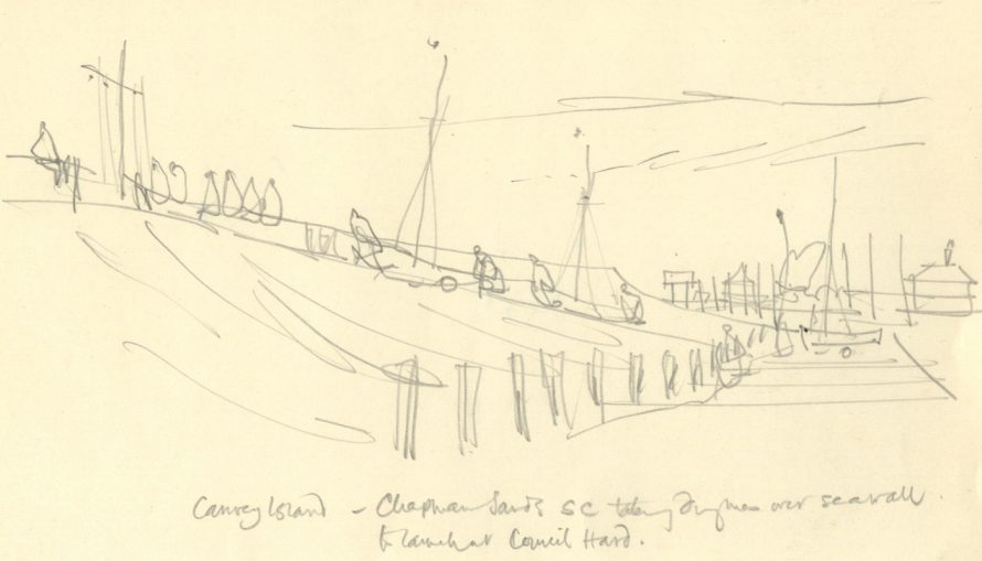 Scene depicting Chapman Sands Sailing Club. From a sketchbook of drawings. Obviously a sketch that became the picture below | Paul Sharp