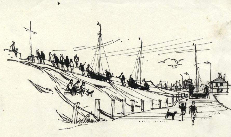 Pen and Ink Drawing, Chapman Sands. This painting was reproduced in the book
