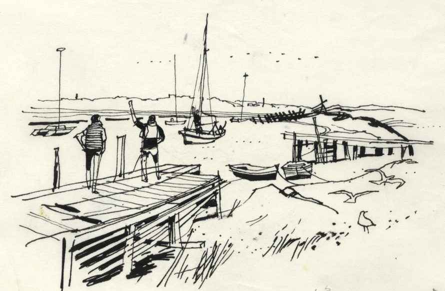 1964 Pen and Ink Drawing, Near Canvey Point. This drawing was reproduced in the book