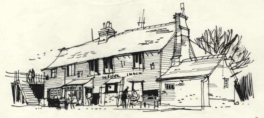 Pen and Ink Drawing, The Lobster Smack.This drawing was reproduced in the book