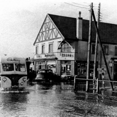 Where it all began Nightingales Stores at the junction of Long Road and Denham Road during the floods of 1953