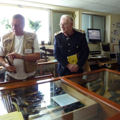 Lord Petre looks at the gun collection on display on the first floor | Janet Penn