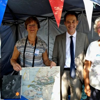 Nellie, Joel and Janet with the Dutch Flood Museum exhibits   J Penn