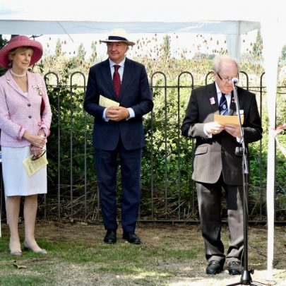 Ray Howard welcomes everyone. Left is Lord Lieutenant of Essex Jennifer Tolhurst to her left is Phillip Venning OBE from the Heritage Lottery   J Penn