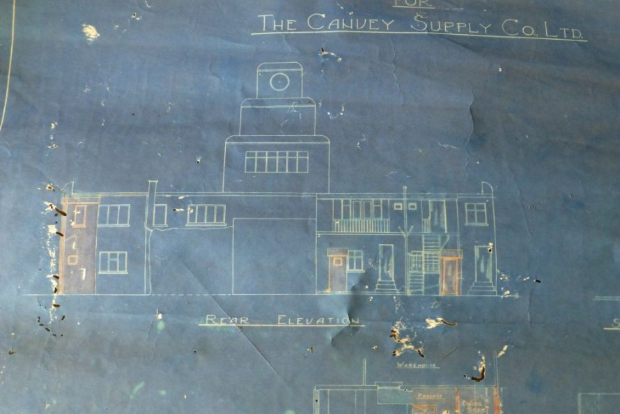 Blueprint showing the building with the clock tower | © Lawrence family