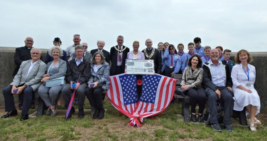 From row l-r from the USA Tom and Linda Schulte, David and Barbara Tarbox, Jeanne Cronis Campbell, Noel Tognazzini and our Chairman Janet Walden. Back row l-r Rev Terry Brown, Captain Rebecca Bairds USAF Pilot, Gary Foulger, Colin Wyatt, Ray Howard MBE, Town Mayor Alan Acott and his wife Ann, Castle Point Mayor Colin Riley and the boys and girls from Canvey's Air Scouts | Janet Penn