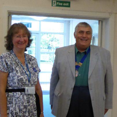 Janet Walden greeting Town Council Chair Peter Craig   Janet Penn