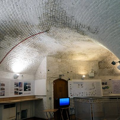 Inside the tower the upper floor where the Tides of Tendring Exhibition has been installed | Janet Penn