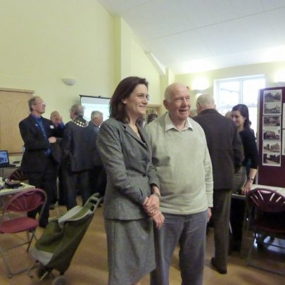 This picture was taken of Rebecca Harris at the launch before the hall filled up with local people | Janet Penn