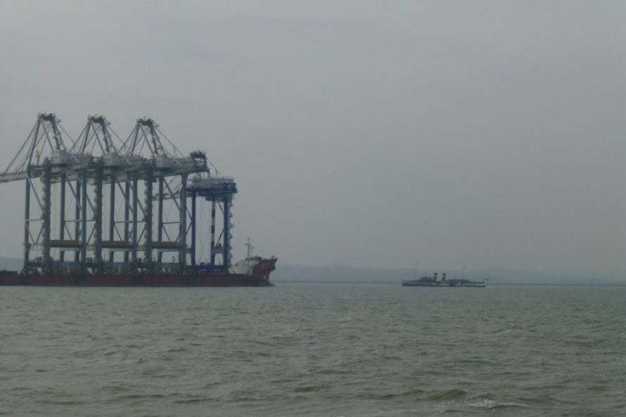 Then the Waverley appears looking so tiny against the giant cranes   Janet Penn