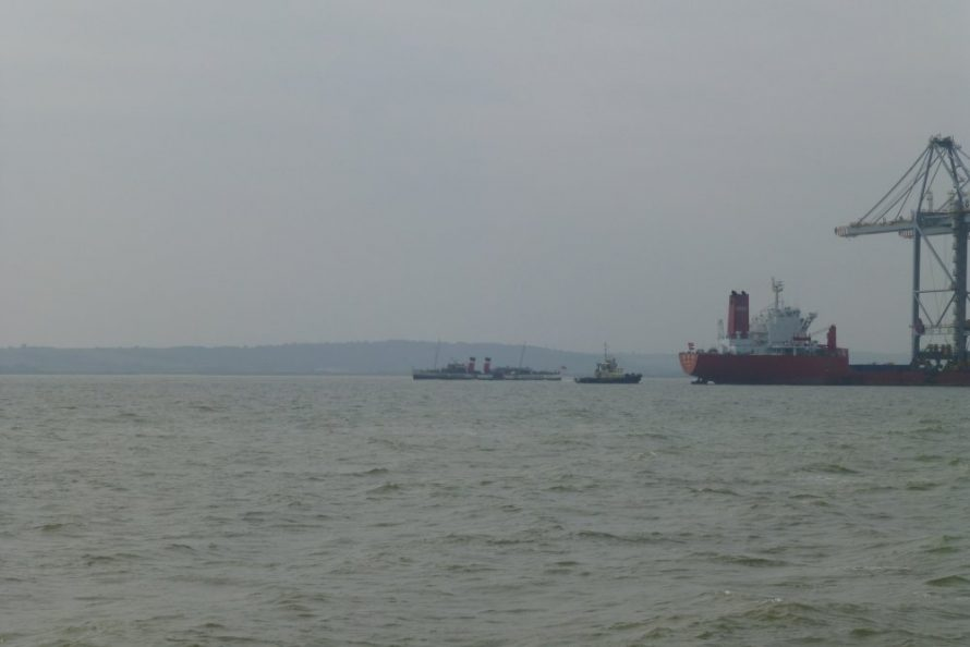 Waverley passing the cranes and tug   Janet Penn
